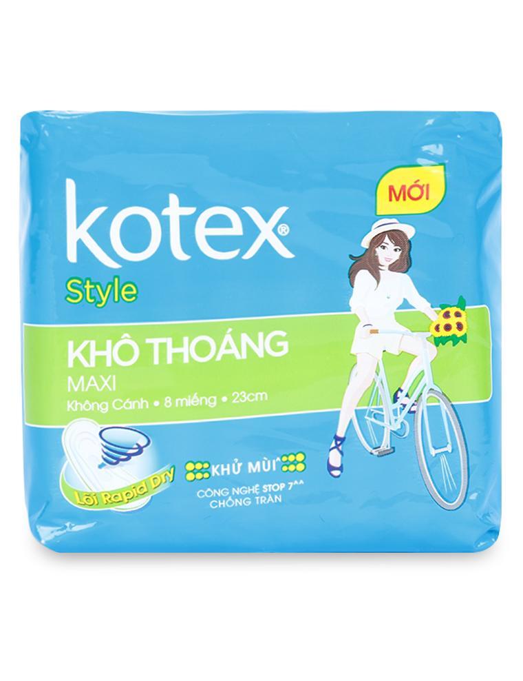 Băng Vệ Sinh Kotex Style Maxi Khô Thoáng Không Cánh 8M (Dài 23 cm)