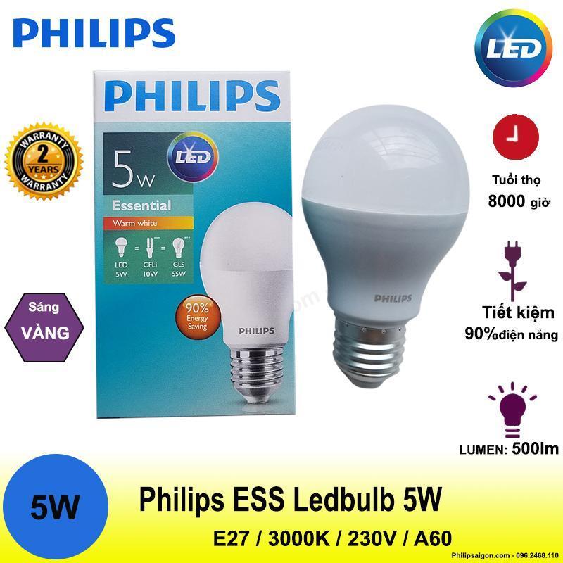 Bóng đèn Philips Ess Ledbulb 5W E27 3000K 230V A60 Ánh sáng( Vàng)