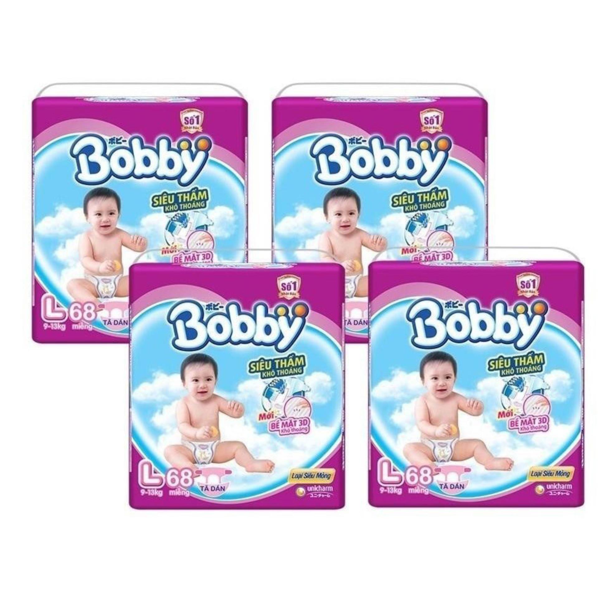 Bộ 4 gói tã giấy Bobby siêu mỏng L68