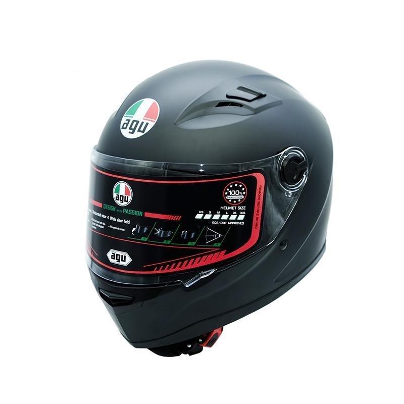 Mũ bảo hiểm fullface AGU Đen Trơn (Kính trong)