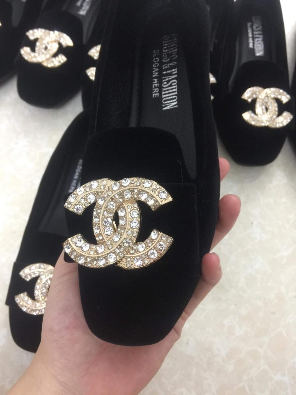 Giày búp bê giày bệt gắn đá