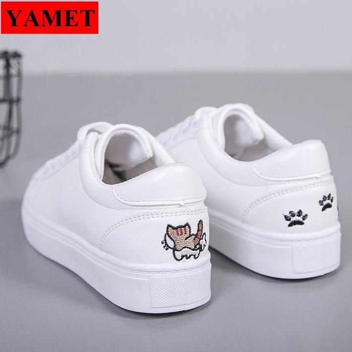 Hình ảnh Giày sneaker nữ thêu mèo dễ thương YAMET YA-0933T Màu Trắng