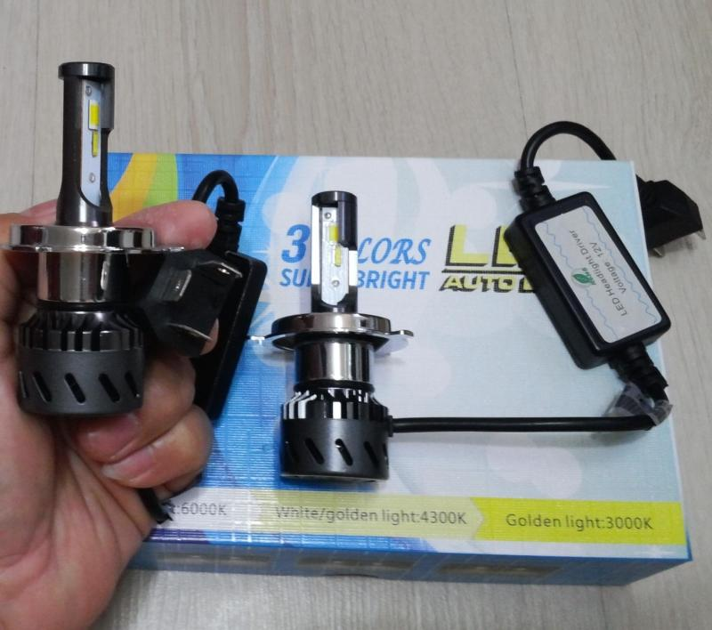Chân H4 - LED 3 Colors - 01 Bóng đèn Led xe T6 sáng hơn XHP70 L8 - Có Clip Test độ sáng T6 và L8