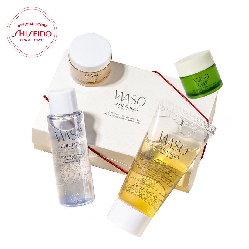 Bộ sản phẩm làm sạch dưỡng ẩm Shiseido WASO Bento Box Kèm mặt nạ ngủ Beauty Sleeping Mask