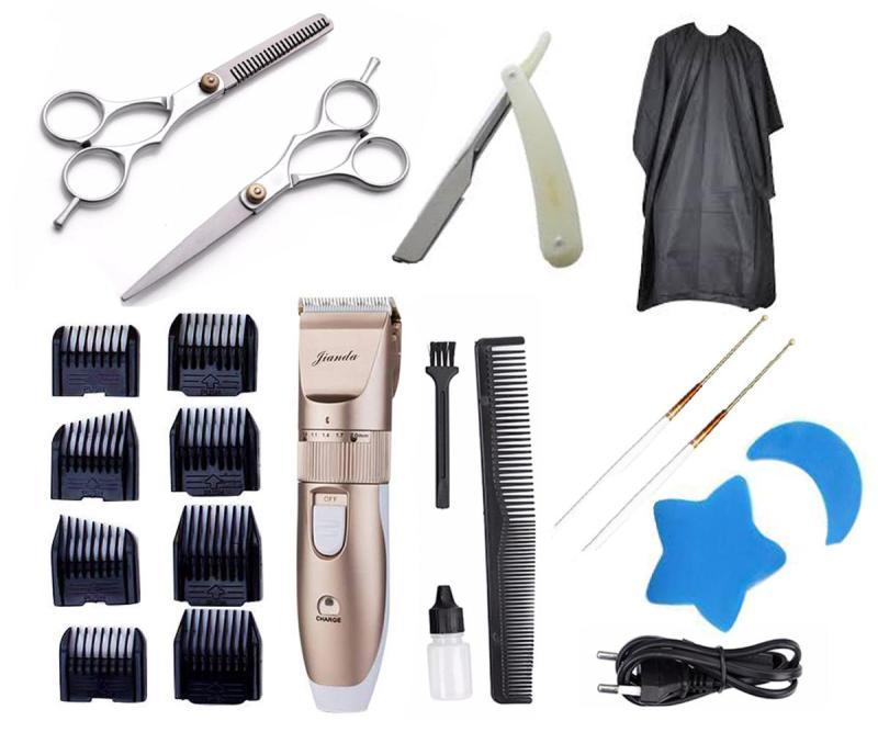 Bộ Tông Đơ Cắt Tóc JIANDA kèm 2 kéo cắt kéo tỉa tặng áo choàng,dao cạo và lấy ráy tai