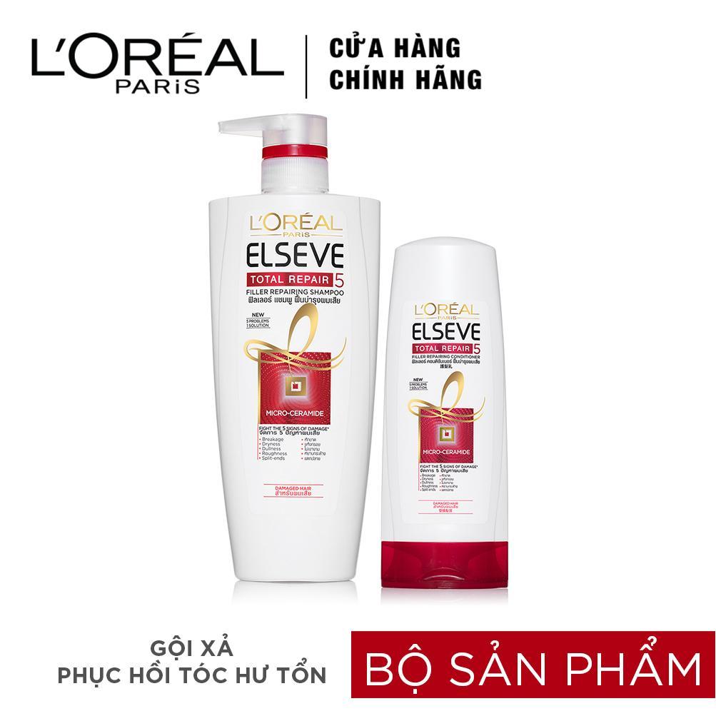 Bộ dầu gội 650ml và dầu xả 165ml phục hổi tóc hư tổn L'oreal Paris Elseve Total Repair