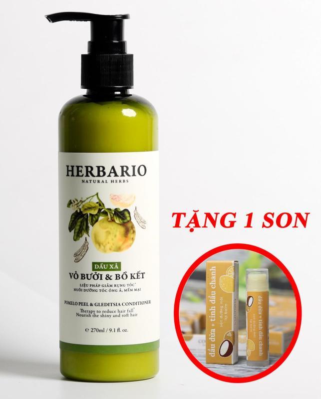 Dầu xả Vỏ bưởi và Bồ kết Herbario 270ml giúp ngăn rụng tóc tặng 1 son nhập khẩu