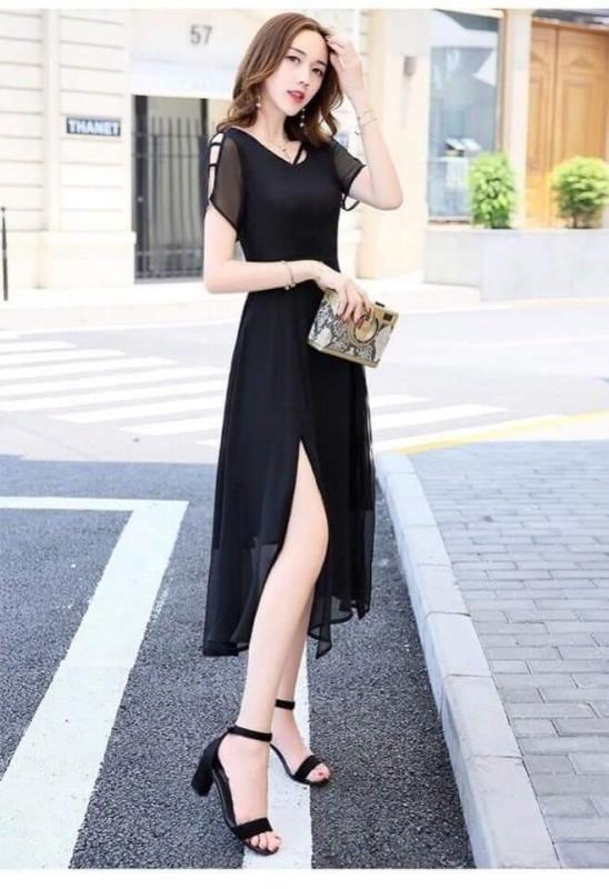 Nơi bán Đầm form dài voan chiffon xẻ đùi Misa Fashion MS307 đi chơi, dự tiệc / Có 3 màu