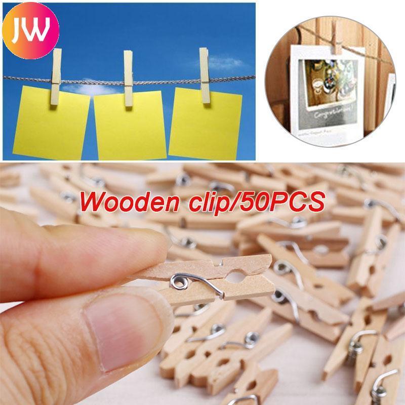 Mua 50pcs Mini Natural Wooden Clothes Hanging Paper Clothespin Clips 25mm Home