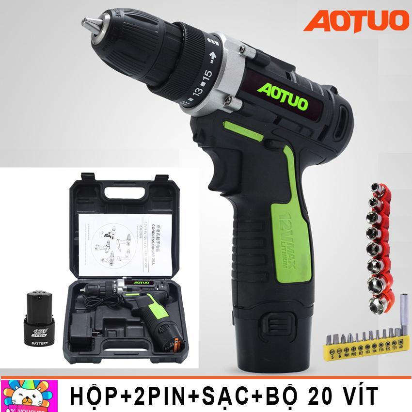 Hình ảnh Máy khoan vặn vít không dây đảo chiều Aotuo 12V - (xanh lá) Kèm 2 pin và hộp và bộ 20 mũi vít