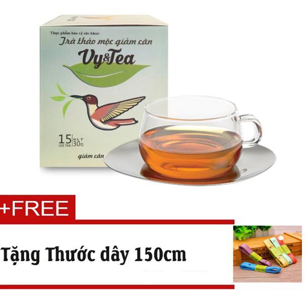 Trà thảo mộc giảm cân Vy & Tea Chính hãng (Liệu Trình 15 Ngày)- Tặng Thước dây 150cm