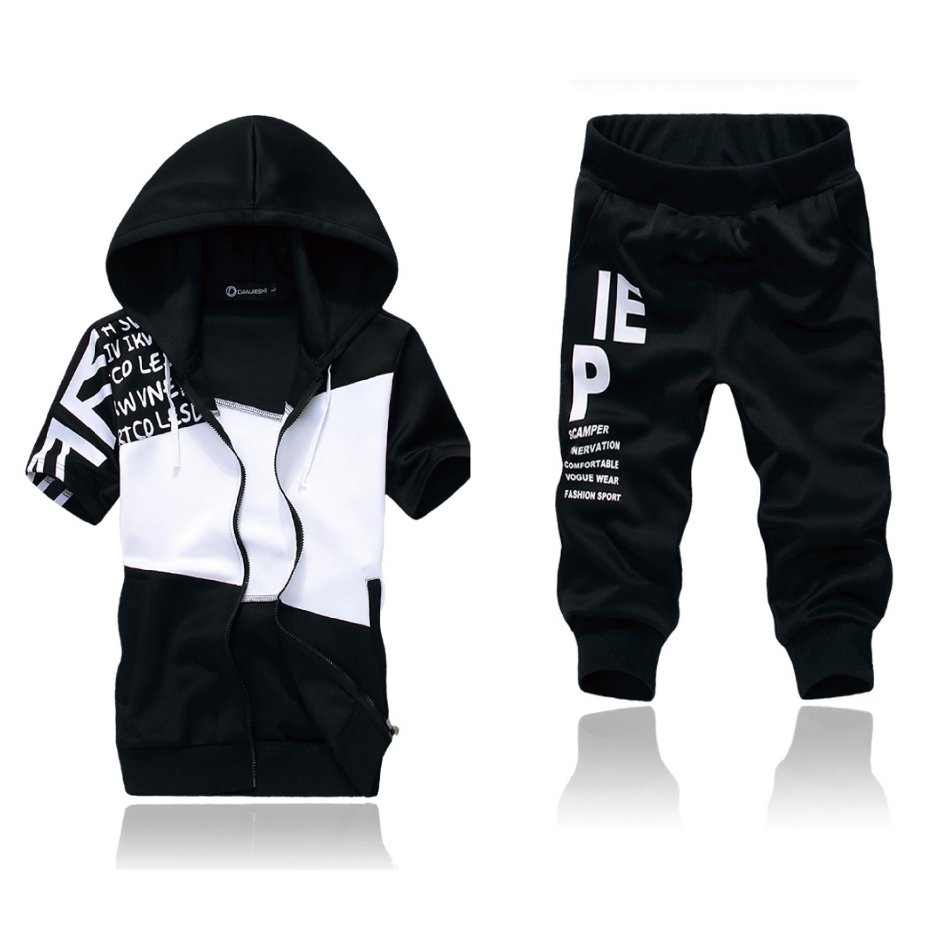 Hình ảnh Set quần áo nam khóa kéo phối màu thời trang Xưởng May giá rẻ MEN QA 10013 (đen)