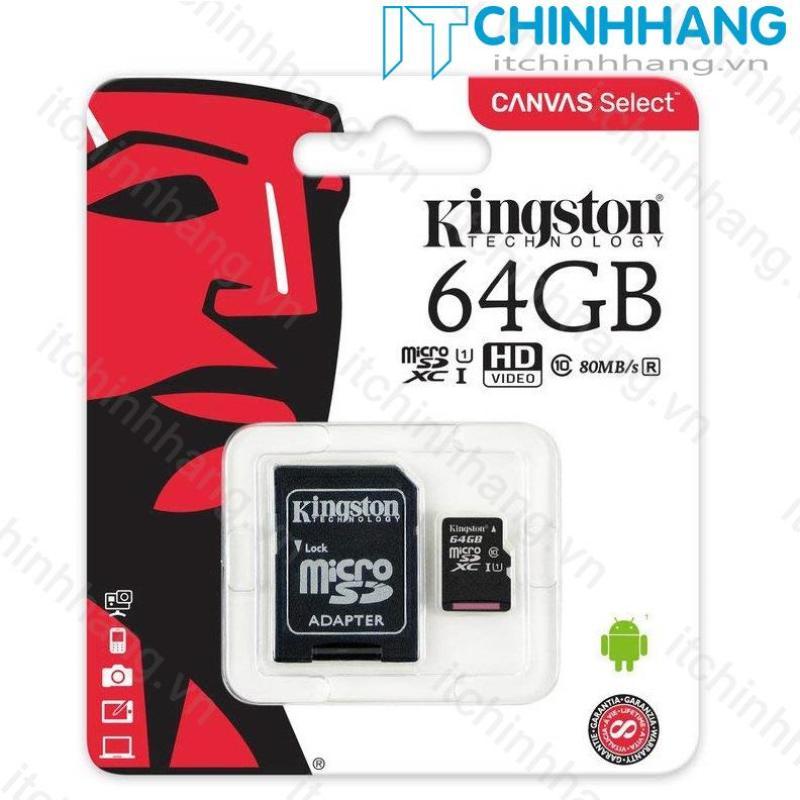 Thẻ nhớ 64GB Micro SDHC Kingston Class 10 UHS-I 80MB/s + Adapter - HÃNG PHÂN PHỐI CHÍNH THỨC