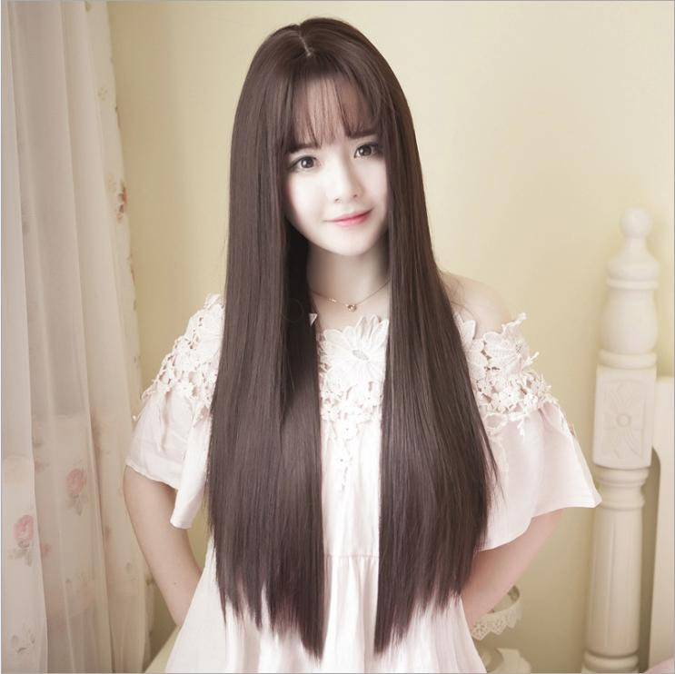 [TẶNG KÈM LƯỚI] Tóc giả nữ nguyên đầu sợi tơ Hàn Quốc CÓ DA ĐẦU - TG87 ( NÂU ĐẬM )