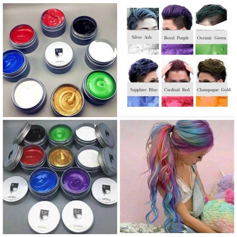 sáp vuốt tóc tạo màu 8 màu tùy chọn màu cafe - màu cafe - màu bạch kim - màu đỏ - màu xanh rêu - màu xanh dương- màu vàng - màu tím - màu đen