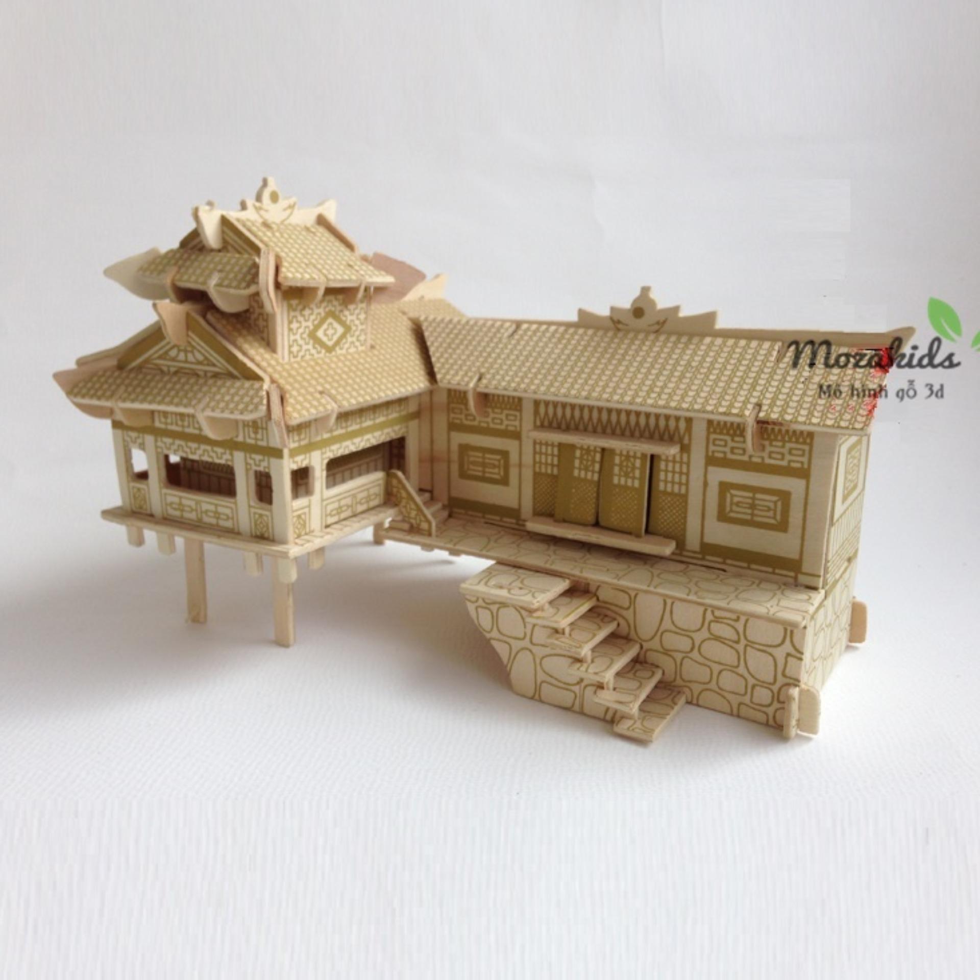 Đồ Chơi Lắp Ráp Gỗ 3d Mô Hình Nhà Sàn By Mozakid - Mô Hình Gỗ 3d.