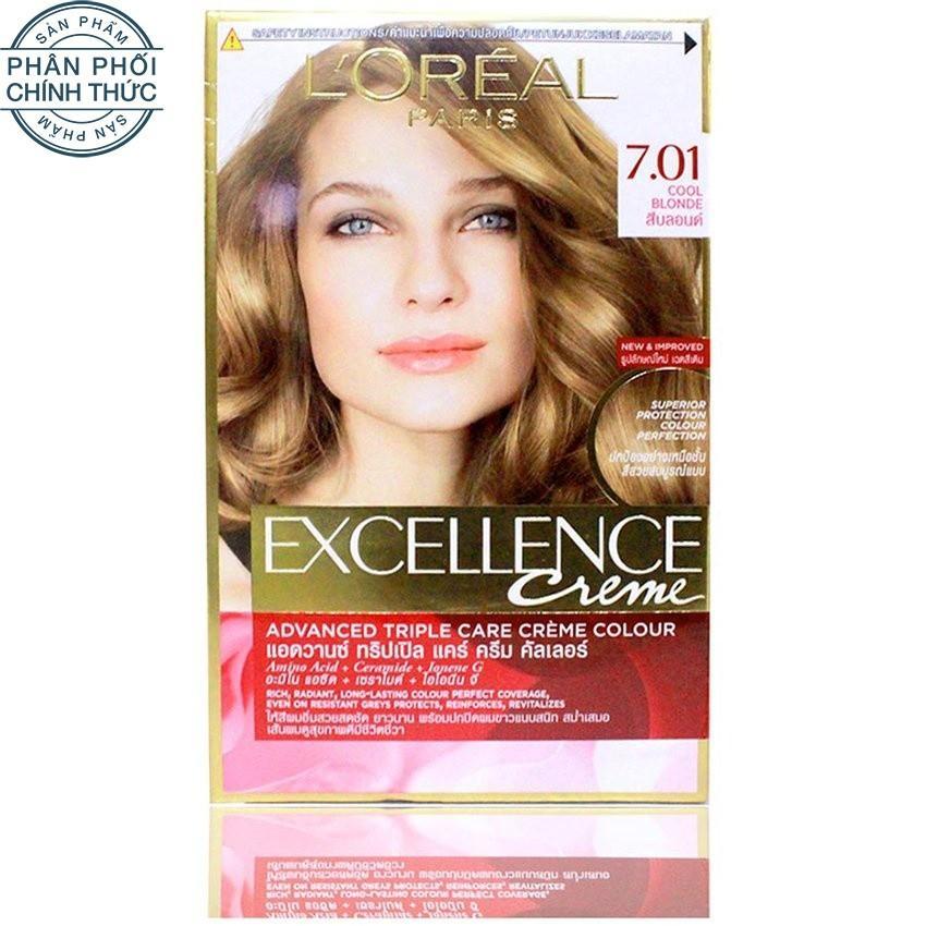 Thuốc nhuộm tóc LOreal Exc Crème 7.01 172ml (Vàng sáng năng động)