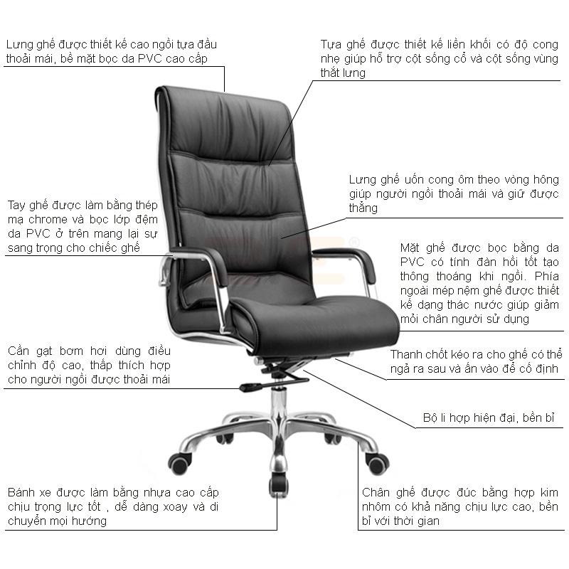 Mô tả chi tiết ghế da Giam Đốc IB204