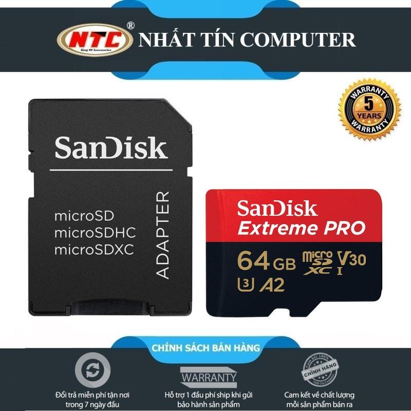 [TẶNG 10 BAO LÌ XÌ] Thẻ nhớ MicroSDXC SanDisk Extreme Pro V30 U3 4K A2 64GB R170MB/s W90MB/s (Đen đỏ) - Nhất Tín Computer