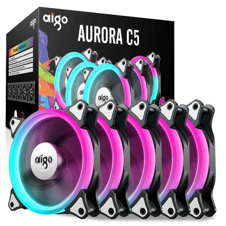 Hình ảnh Combo quạt tản nhiệt led AIGO RGB C5 đủ màu có chip điểu khiển