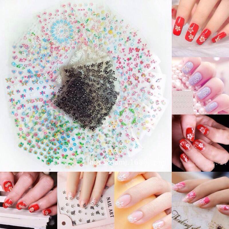 Bộ 10 tấm sticker dán móng tay , Decal dán móng tay tại nhà mẫu đơn giãn, thanh lịch