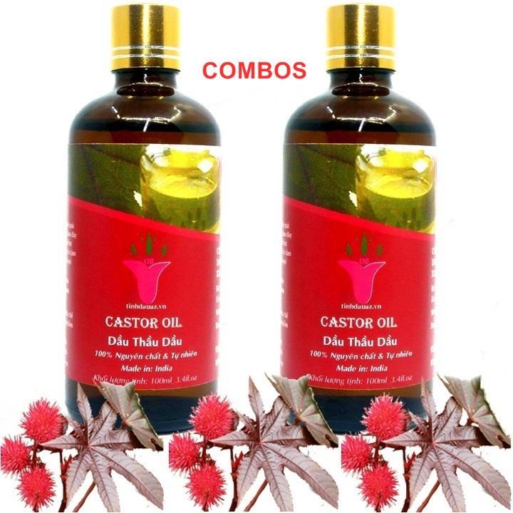 COMBO 2 CHAI DẦU THẦU DẦU ( CASTOR OIL ) 100ML | ẤN ĐỘ tốt nhất