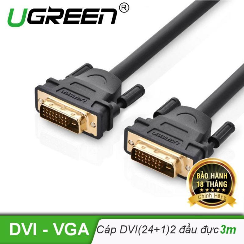 Bảng giá Cáp tín hiệu DVI-D (24+1) 2 đầu đực dài 3m UGREEN DV101 11607 (đen) Phong Vũ