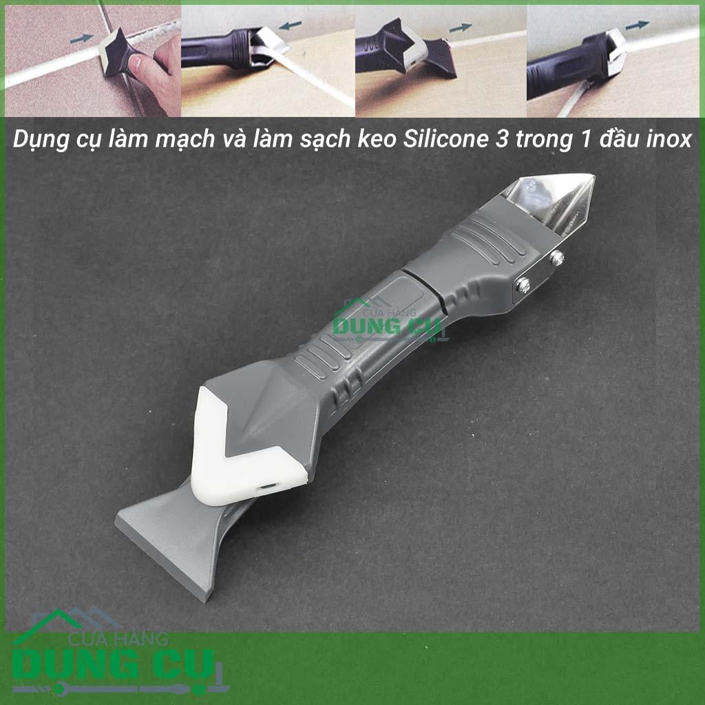 Dụng cụ làm sạch và vuốt keo silicon đa năng 3 trong 1 (đầu kim loại)