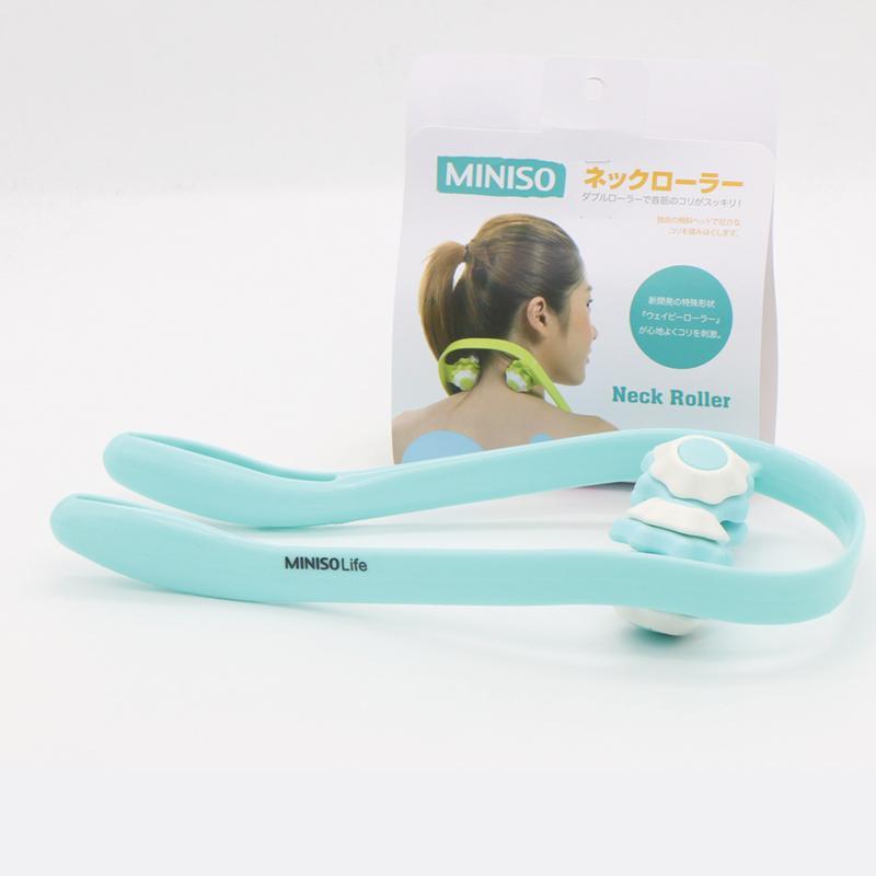 Dụng cụ massage vùng cổ Miniso 2 đầu lăn (Xanh lá chuối)