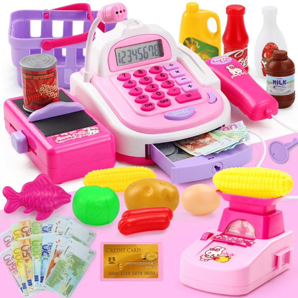 Hình ảnh Đồ chơi máy tính tiền siêu thị hiện số, tính tiền, cân, tít sản phẩm, mic phát âm thanh - Mẫu Lớn