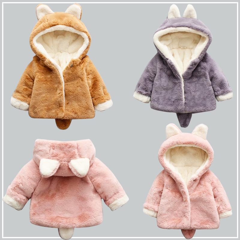 Hình ảnh Áo khoác lông, áo lông thời trang, áo lông giữ ấm tai thỏ cho bé siêu đáng yêu