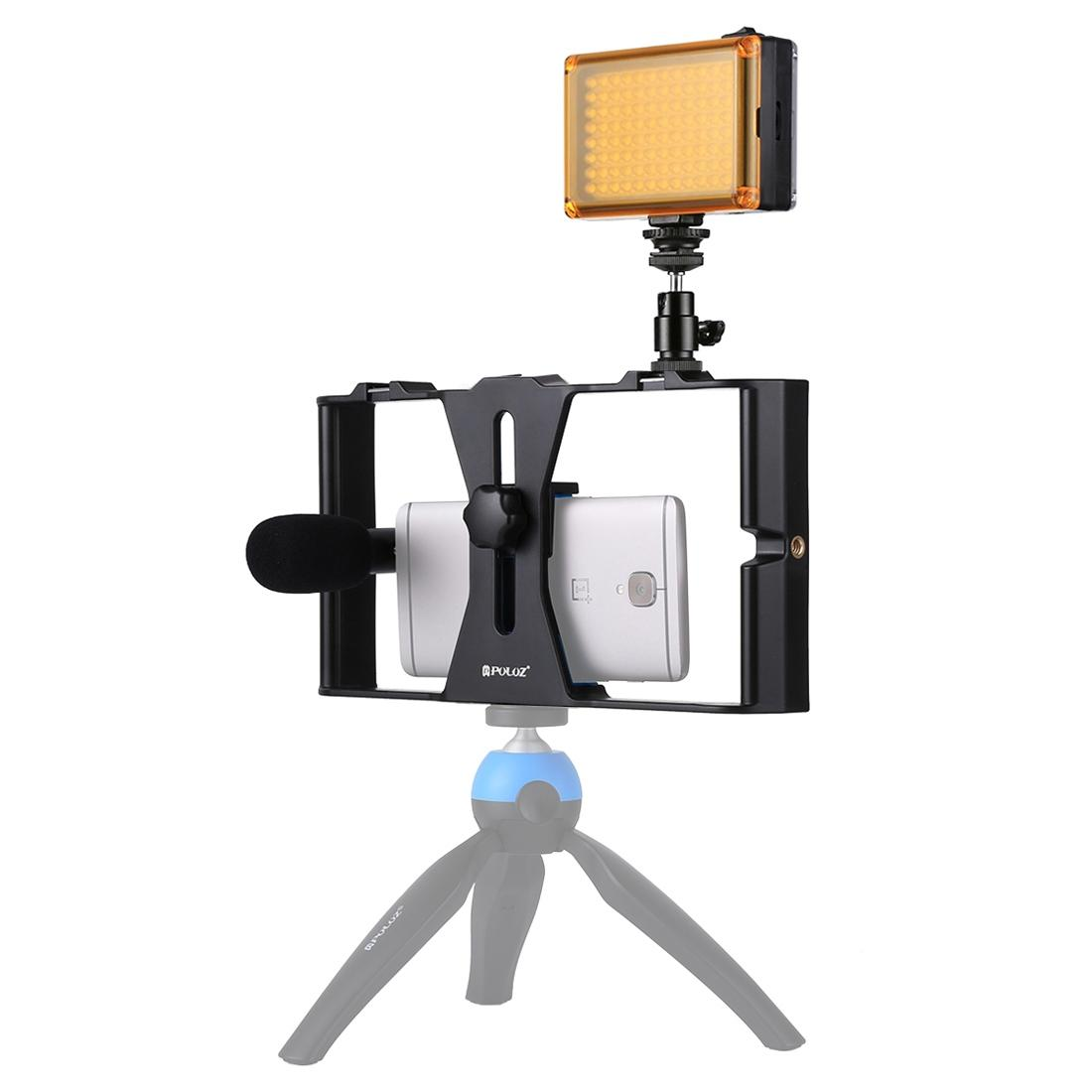 PULUZ Smartphone Video Rig + LED Studio Light + Video Shotgun Microphone  Kits with Cold Shoe Tripod Head for iPhone, Galaxy, Huawei, Xiaomi, HTC,  LG,