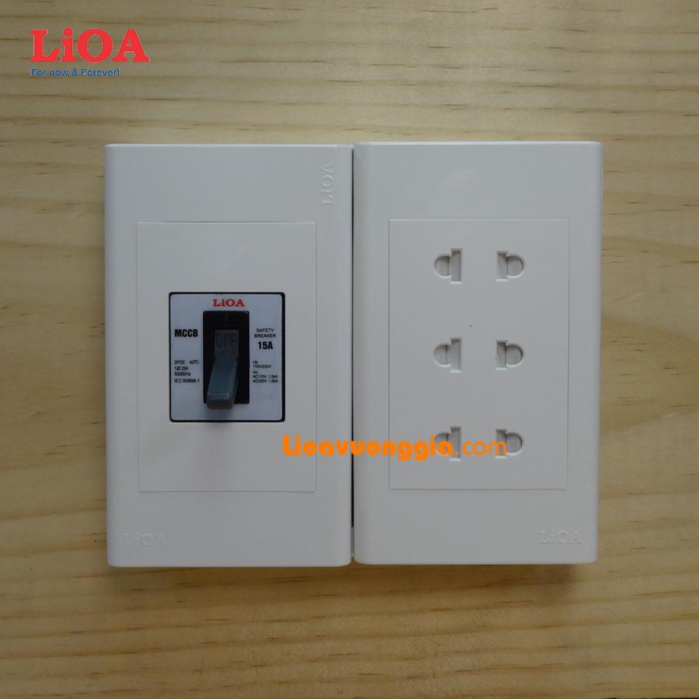Combo ổ cắm điện lắp nổi có cầu dao chống quá tải 15A