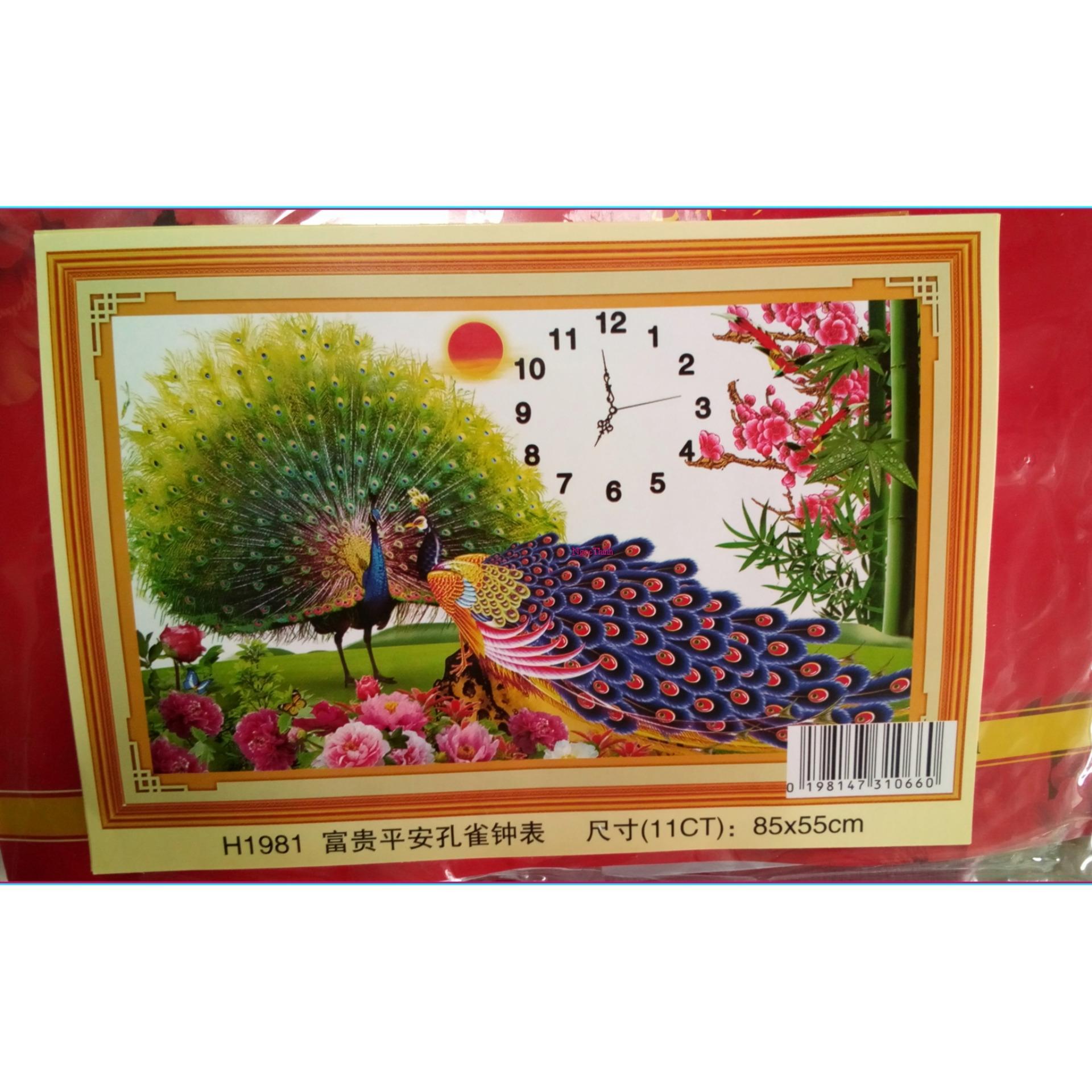 Tranh thêu chữ thập Đồng hồ Monalisa đôi công MH1981-Ngọc Thịnh