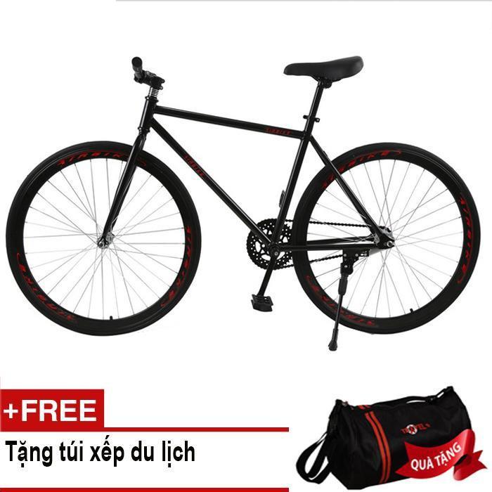 Mua Mishio - Xe đạp Fixed Gear Air Bike MK78 (đen) + Tặng túi xếp du lịch