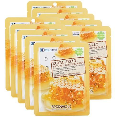 Bộ 10 gói mặt nạ 3D Foodaholic Hàn Quốc - tinh chất sữa ong chúa (23mlx10miếng)