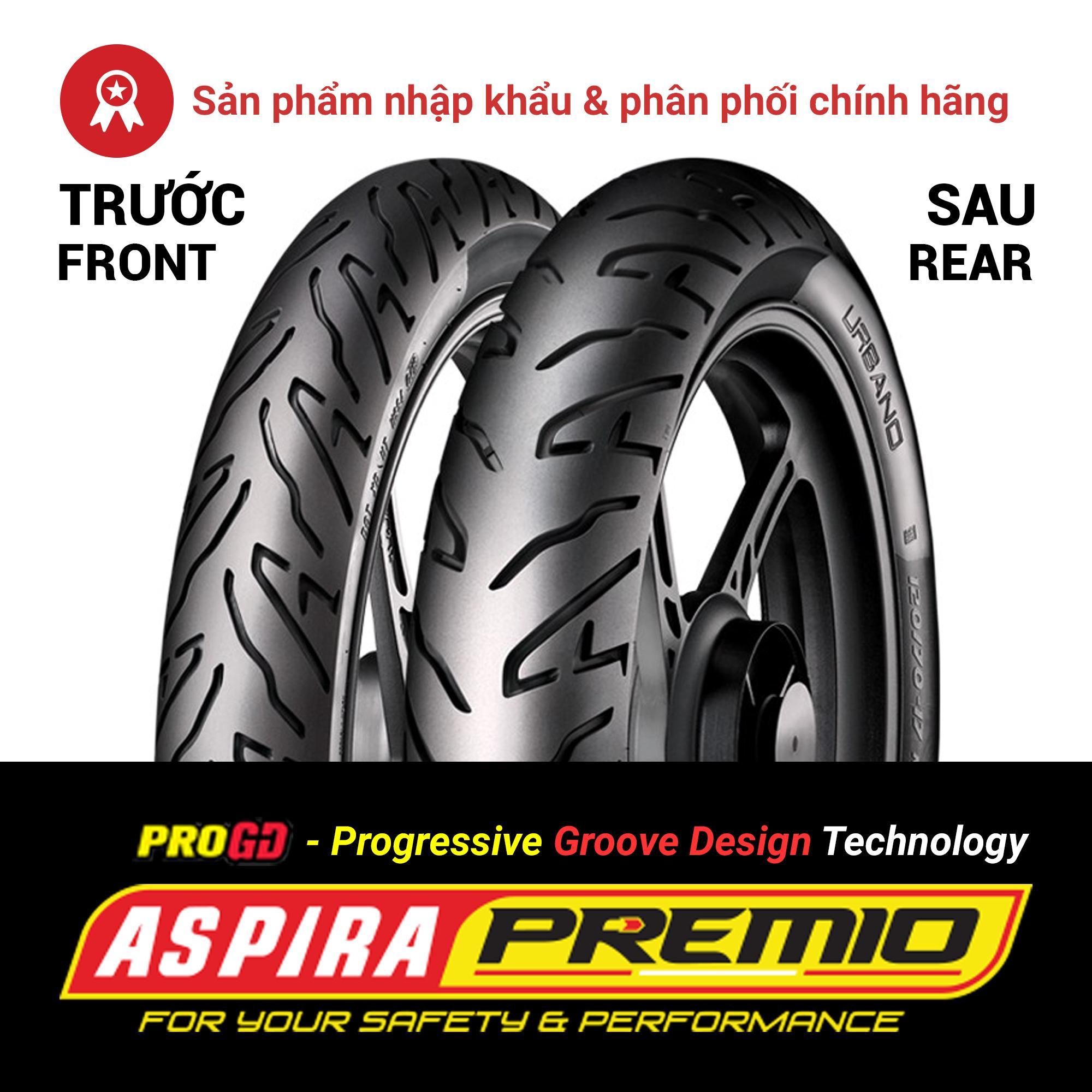 Thay cặp lốp (vỏ) trước 80/90-17 TL + sau 120/70-17 TL Aspira Premio Urbano chính hãng cho xe côn tay phân khối nhỏ (PKN) Exciter 150, Honda Winner, CBR150R, Yamaha FZS, FZ150i - Combo 02 lốp (vỏ)