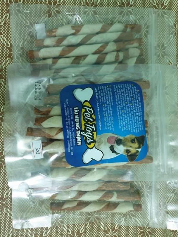 PetSnack bánh thưởng xương da bò đũa xoắn cho chó cún THT MS: 853