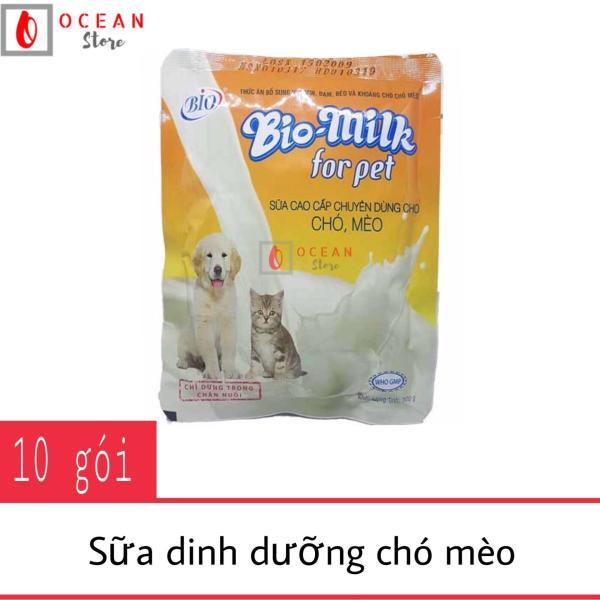 (Bộ 10 gói) Sữa dinh dưỡng cho chó mèo Bio Milk dành cho chó, mèo non mất mẹ, bổ sung cho mẹ ít sữa, bổ sung dinh dưỡng cho chó mèo bị suy nhược