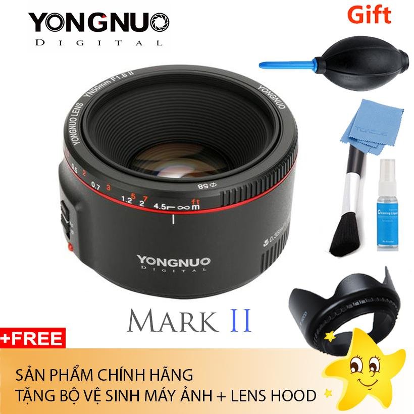 Ống Kính Yongnuo 50 F1.8 II For Canon (Tặng Bộ Vệ Sinh Máy + Lens Hood) Đang Trong Dịp Khuyến Mãi