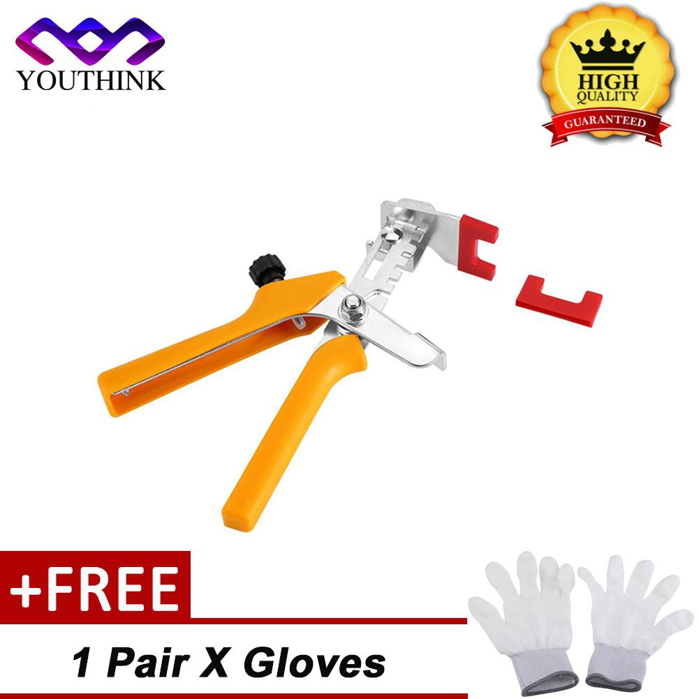 epayst [Buy 1 Get 1 Free Pair Gloves] Floor Pliers Tiling Leveling System Ceramic Tiles Installation Tool(Yellow)