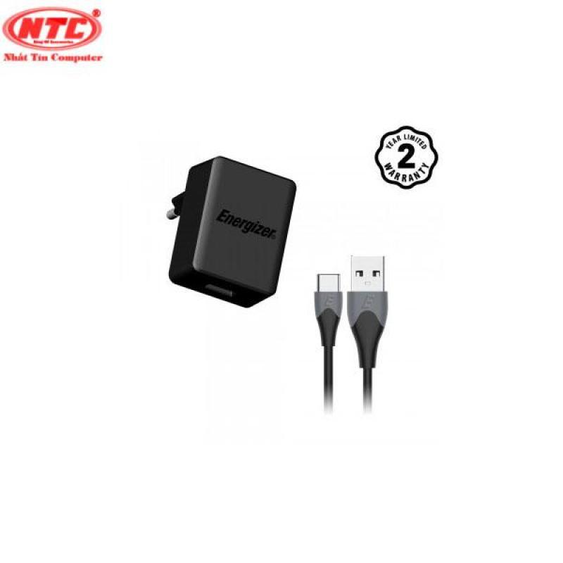 Bộ cốc sạc Energizer Quick Charge Qualcomm 3.0 18W kèm cáp USB Type-C - AC1Q3EUUC23 (Đen) - Hãng phân phối chính thức