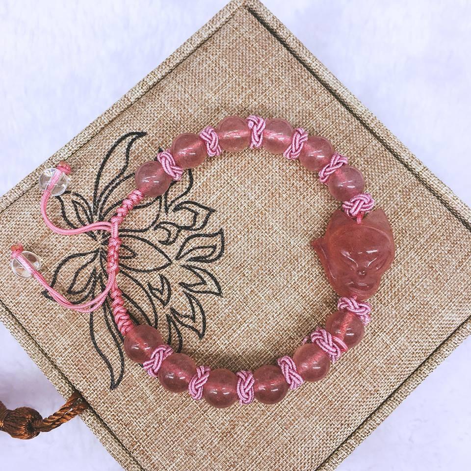 Vòng tay thạch anh hồng dâu tây hồ ly