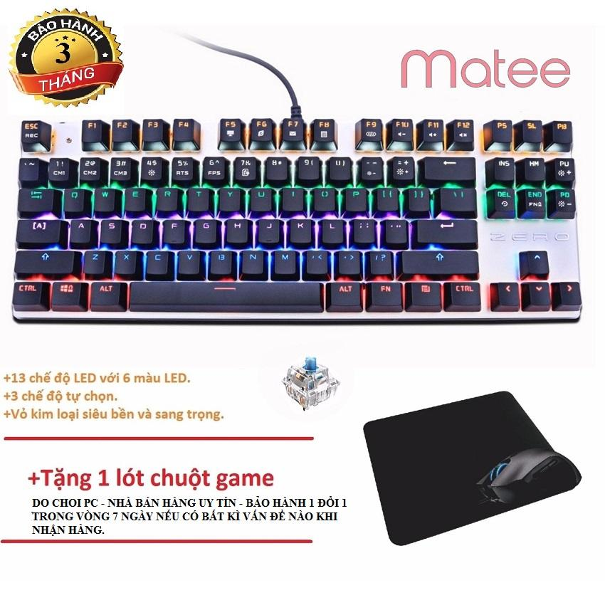 Hình ảnh Bàn Phím Cơ Game Thủ Zero E-Sport 87K Đèn Led 13 Chế Độ Switch blue +Tặng lót chuột thương hiệu Do choi PC