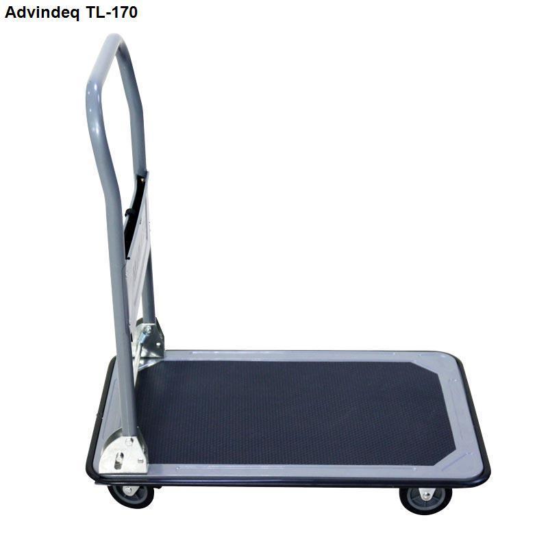 Xe đẩy hàng 4 bánh sàn thép Advindeq TL-170 tải trọng 170kg tay gấp gọn bánh xe có chốt hãm có khay để dụng cụ tiện lợi