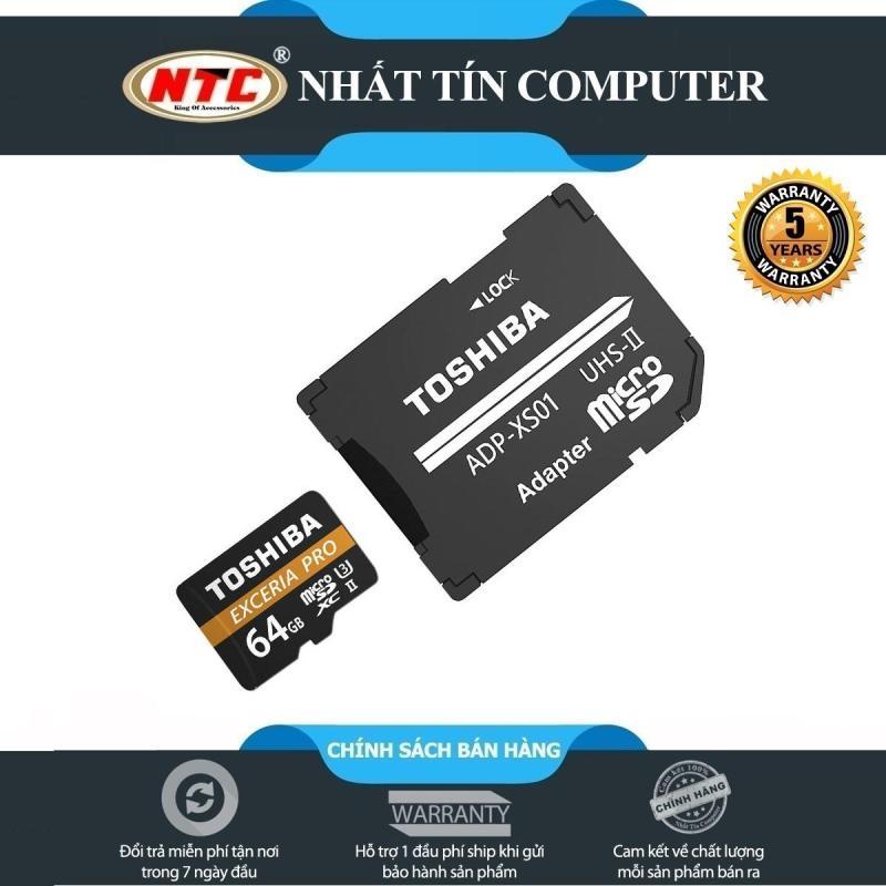 Thẻ nhớ MicroSDXC Toshiba Exceria Pro M501 64GB UHS-II U3 4K R270MB/s W150MB/s (Đen)