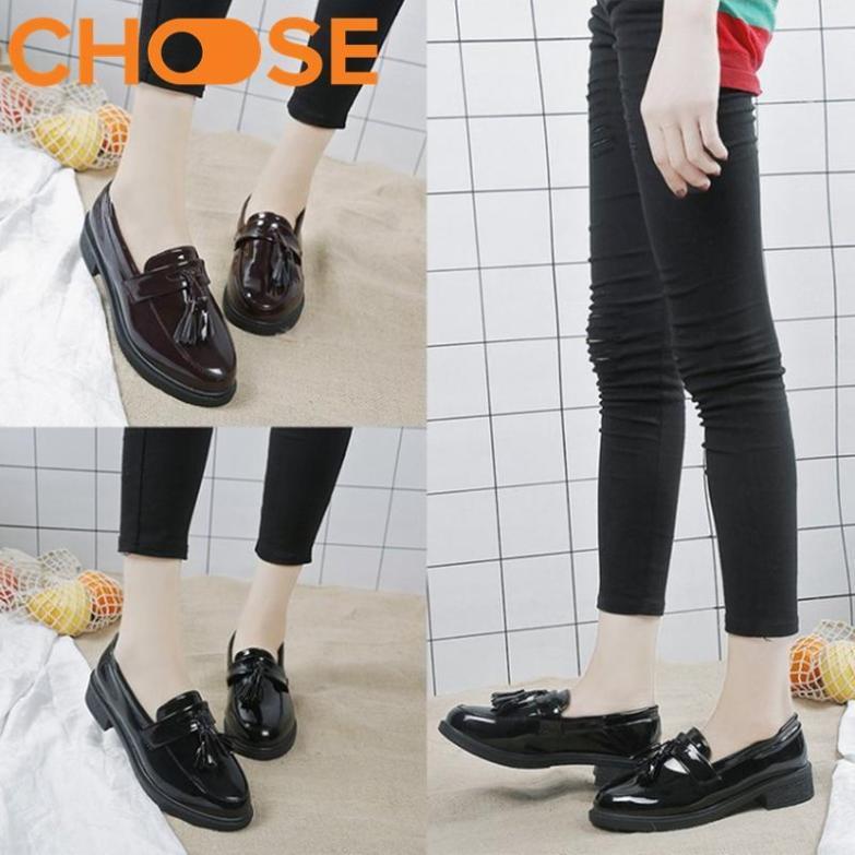 (VIDEO)Giày Mọi Nữ Màu Đen/Giày Lười Oforxd Trang Trí Tua Rua Xinh Xắn 1410 giá rẻ