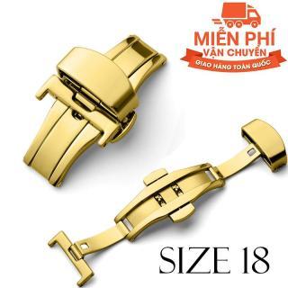 Khóa bướm thép không gỉ dùng cho dây da SIZE 18mm (vàng) thumbnail