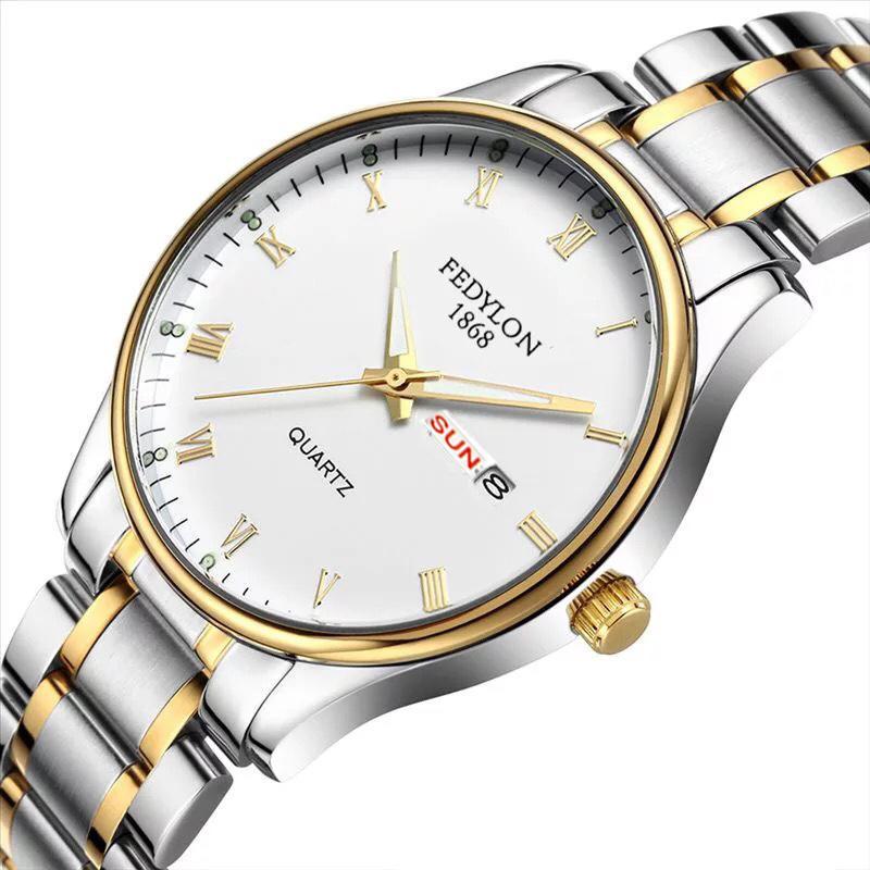 Đồng hồ nam dây thép Fedylon FD003 phong cách lịch lãm kèm lịch ngày (mặt đen/mặt trắng)