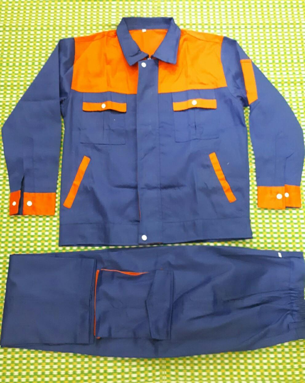 Bộ quần áo Bảo Hộ lao động Kaki màu Xanh pha Cam size 6 (M)
